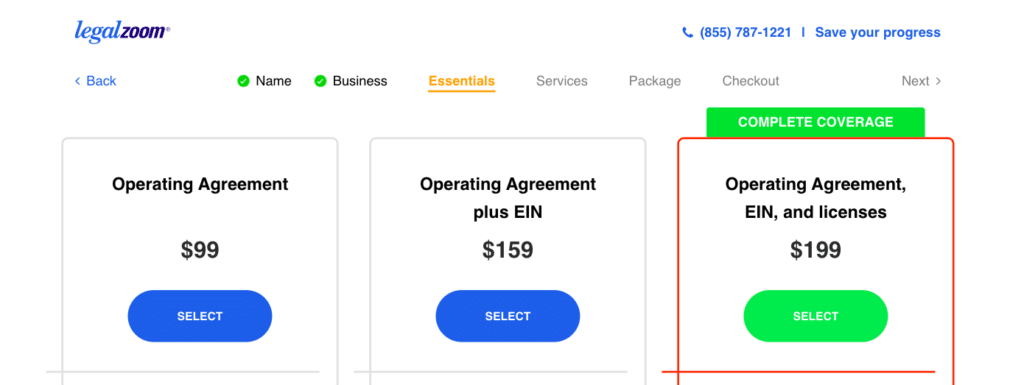 LegalZoom vs ZenBusiness operating agreement, EIN prices